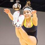 girl does two foot high kick, NYO